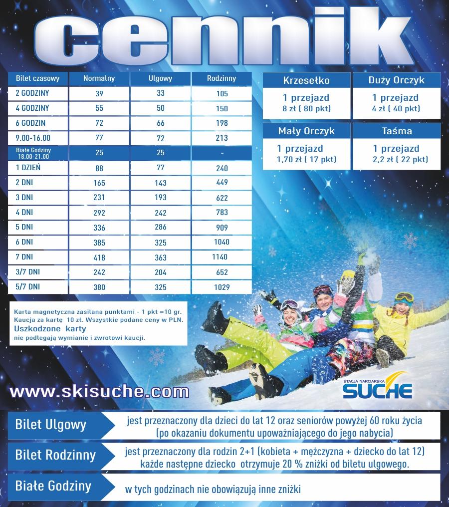 Cennik Wyciąg narciarski Suche ski
