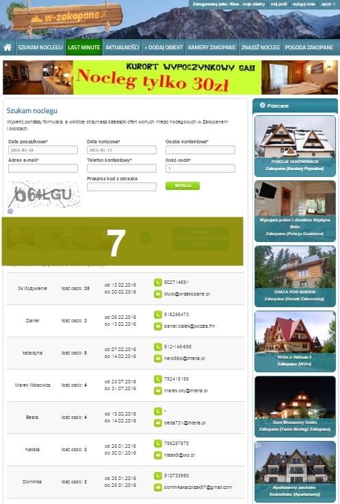 Reklama na portalu na stronie Szukam Noclegu