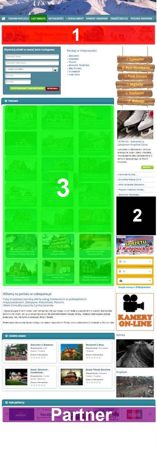 Ceny reklamy w portalu na stronie głównej